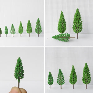 20pcs/set  4.5~16cm Tower Shaped Green Trees Model Garden Railway Scenery Layout