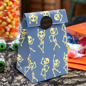 OURWARM PARTY 12Pcs Halloween Paper Gift Bag Party Favor Cookie Candy Bag Gift Wrap with Sticker