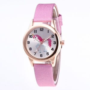 Fashion Women Children Cartoon Unicorn Wrist Watches Kids Girls' Leather Band Alloy Quartz Watch Gift