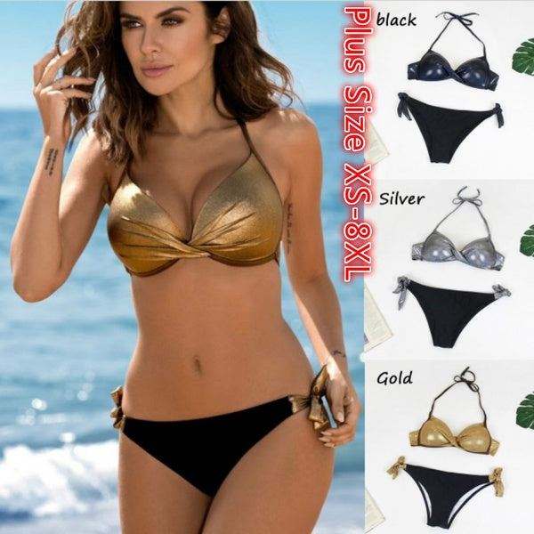 Push Up Bikini Set Cross Swimsuit Solid Bandage Bikinis Halter Swimwear Women Beach Wear