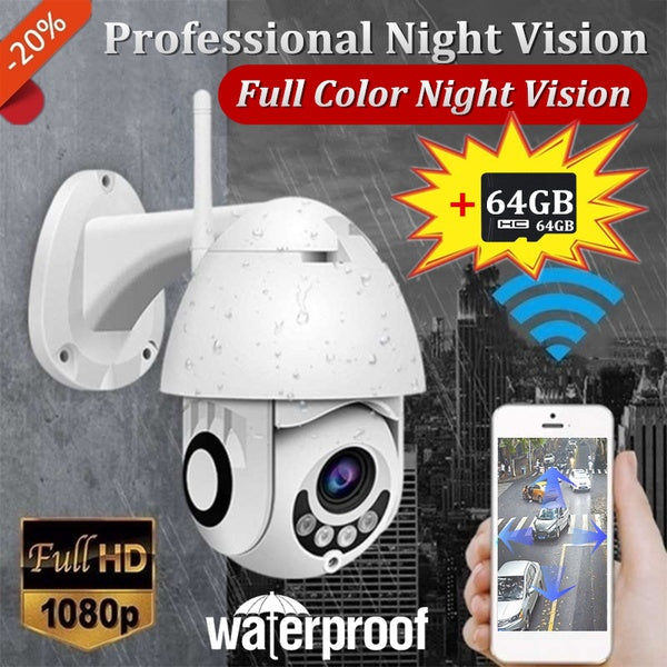 New Outdoor IP66 Waterproof PTZ Camera Onvif WiFi IP Camera 2MP 1080P Full HD Wireless CCTV Full Color Night Vision Dome Camera Security Surveillance NetCam