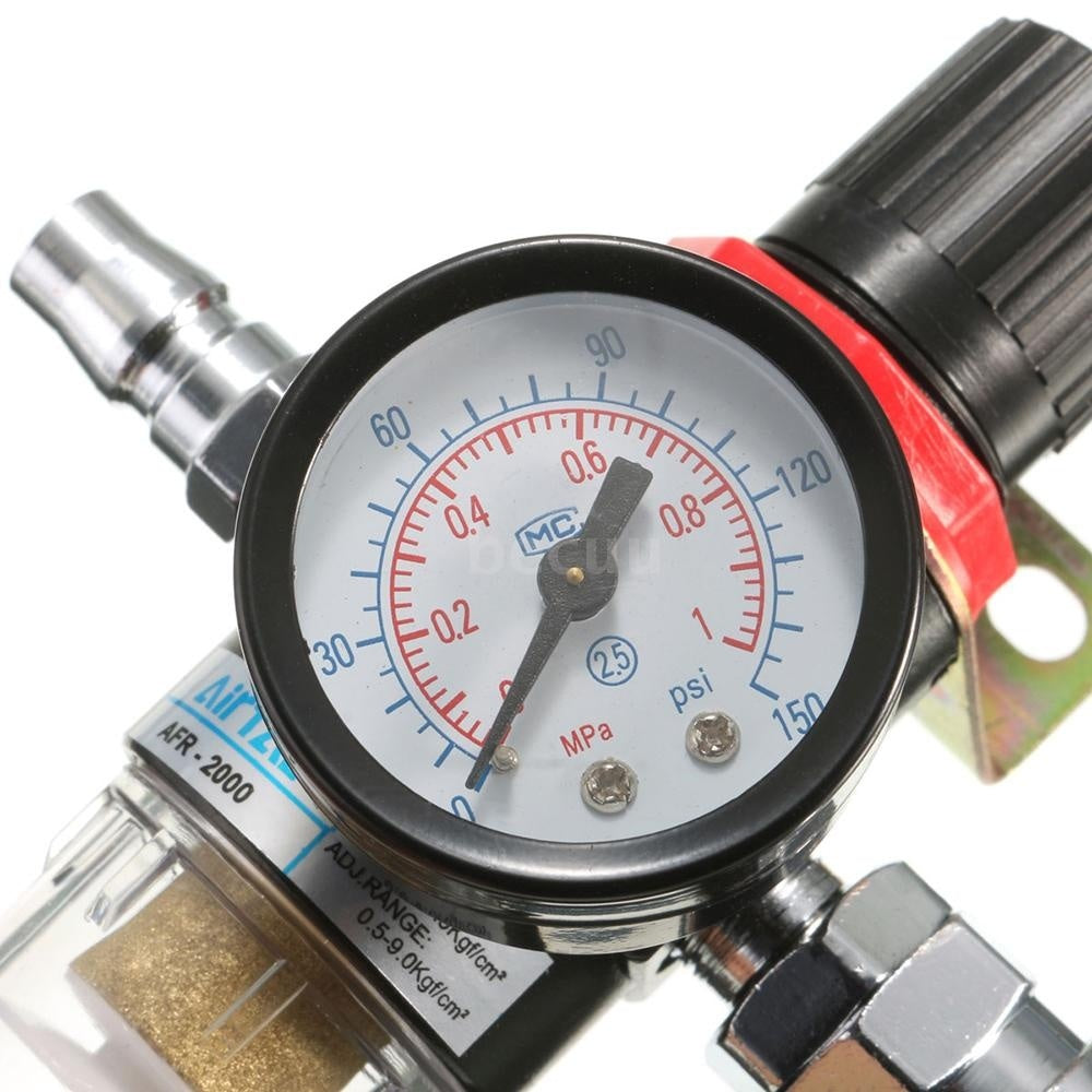 AFR-2000 1/4' Air Compressor Filter Water Separator Trap Tools Kit Regulator Gauge Recommend Regulating Pressure Range: 30-120PSI