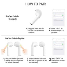 Load image into Gallery viewer, TWS 7S Stereo In-ear Earbud Earphone Headset Headphones Wireless Bluetooth Headset Hands-free Headset Mini Headset