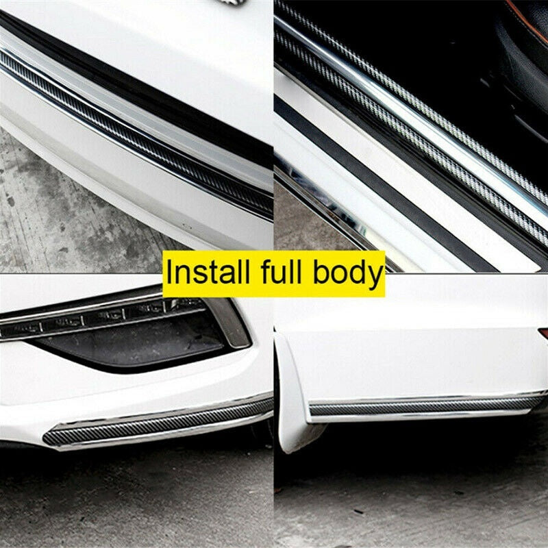 Car Carbon Fiber Silver Side Skirt Door Sill Protector Edge Guard Strip 5CM*1M
