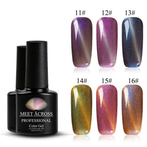 Meet Across 12 Colors Glass Magnetic Gel Polish 7ml 3D Cat Eyes UV Nail Gel Soak Off Long Lasting Varnish