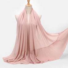 Load image into Gallery viewer, Shiny Solid  Pleat Beads Patchwork Muslim Women Chiffon Pearls Shawls Wraps Head Scarves Hijabs