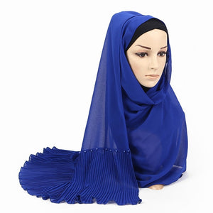 Shiny Solid  Pleat Beads Patchwork Muslim Women Chiffon Pearls Shawls Wraps Head Scarves Hijabs