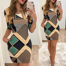 Load image into Gallery viewer, Fashion Women Slim-fit Geo Printed  Short Sleeve Bodycon Short Dress