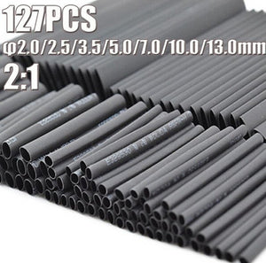 127pcs Car Electrical Cable Heat Shrink Tube Tubing Wrap Sleeve Assorted Kit GO