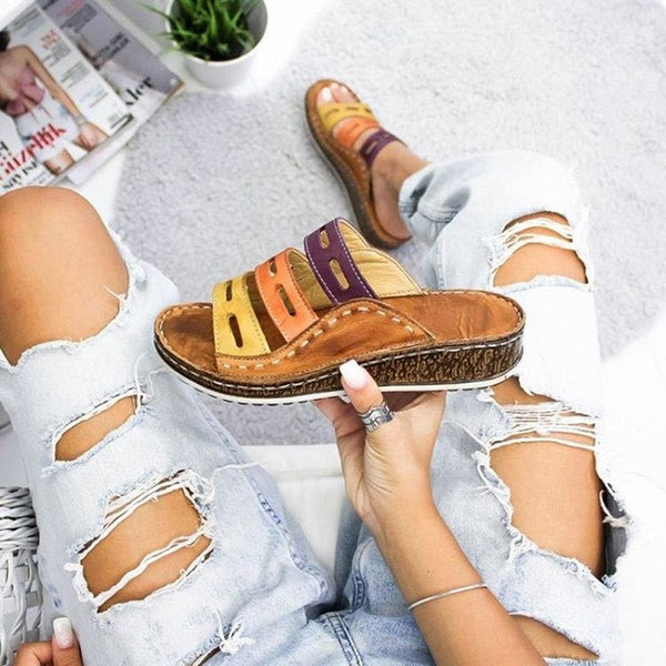 Summer Womens Casual Comfortable Slippers Platform Wedge Open Toe Leather Slippers