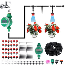 Load image into Gallery viewer, 94Pcs 25 Meters DIY Plant Self Watering Micro Drip Irrigation System +Digital irrigation Timer Garden Hose Kits Plants Flowers Watering Device