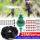 94Pcs 25 Meters DIY Plant Self Watering Micro Drip Irrigation System +Digital irrigation Timer Garden Hose Kits Plants Flowers Watering Device