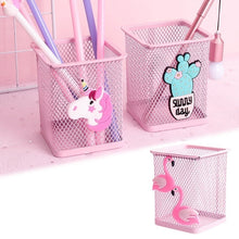 Load image into Gallery viewer, 1Pcs Pink Cartoon Unicorn Metal Pen Holder Desk Hollow Pencil Storage Box School Supplies Stationery Storage Student Gifts