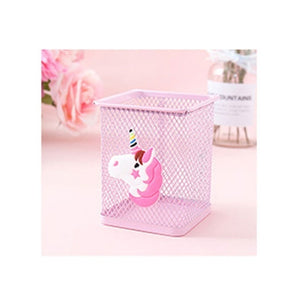 1Pcs Pink Cartoon Unicorn Metal Pen Holder Desk Hollow Pencil Storage Box School Supplies Stationery Storage Student Gifts