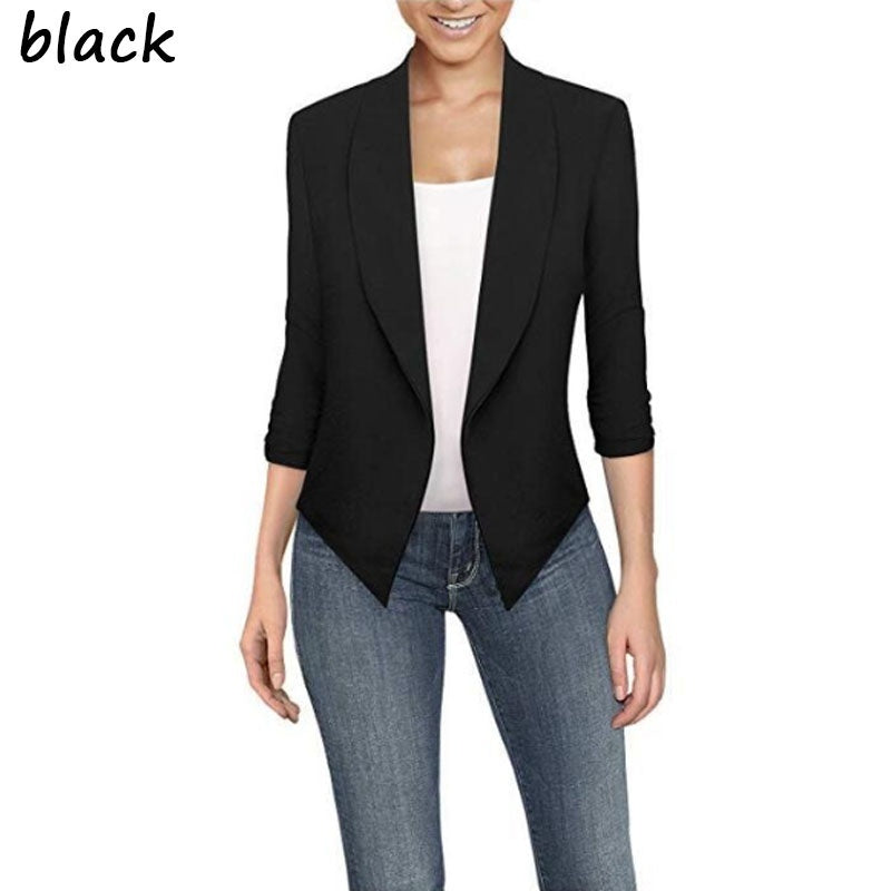 Women Lapel Suit Blazers Slim Cardigan Temperament Work Wear Long Sleeve Suit Long-sleeved Plain-color Cardigan with Irregular Hem Jacket