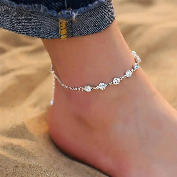NEW Crystal Beach Anklet for Women Gold Silver Color Boho Ankle Bracelet on Leg Foot Bracelets Bohemian Jewelry