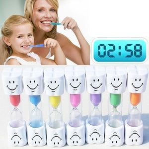 2 Minutes Home Bathroom Children's Toys Sand Clock Hourglass Timer Timepiece Smiling Face Tooth Brushing for Kids Gift