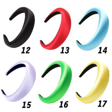 Load image into Gallery viewer, Women Satin Pearl Headband Solid Color Sponge Wide Hairbands Girls Hair Band Hoop Hair Accessories