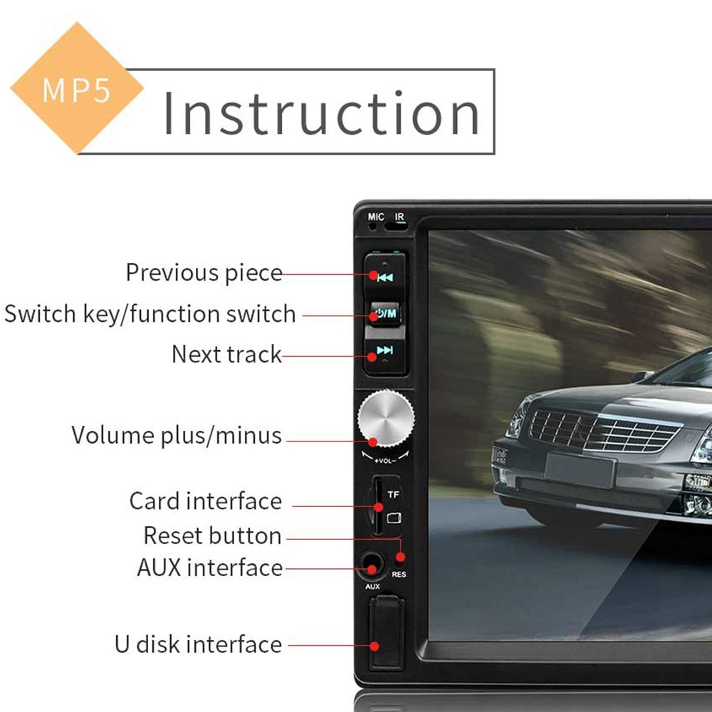 Button-7 Color Backlight Version 2din HD Bluetooth Car Player FM Radio Stereo MP3/MP5 Video Player