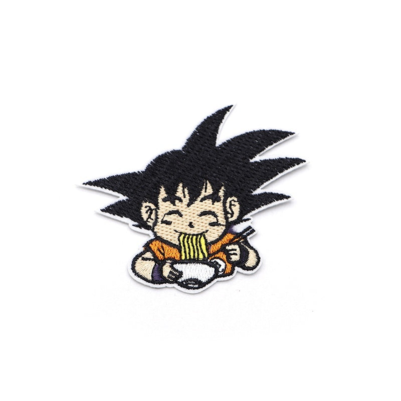 Cartoon Anime Son Goku Embroidery Patch Iron On Patches For Clothes DIY Accessory Bag Hat Applique Armband Book Stickers S31