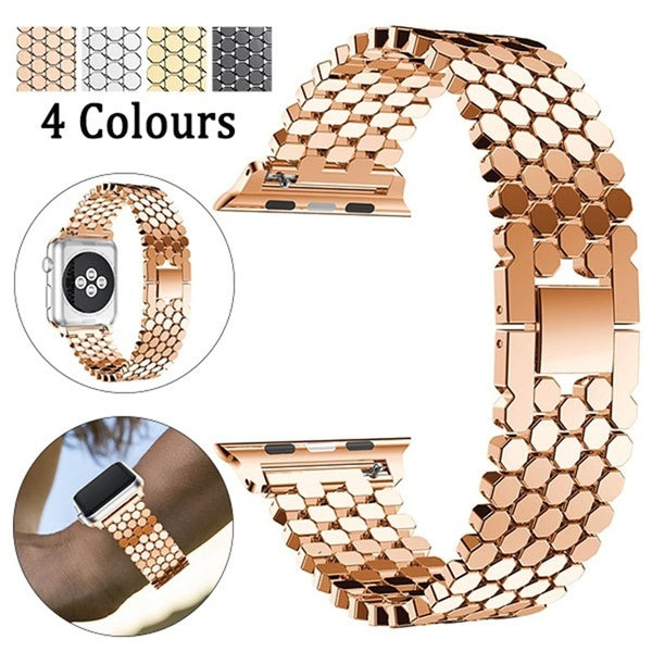 YAYUU Fashion Sports Stainless Steel Watch Band Replacement Strap For Iwatch 38/40/42/44 Mm Compatible with Series 4/3/2/1