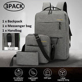3 Pcs Set Fashion Laptop Backpack Casual Messenger Bag Student Notebook School Bag With USB Port