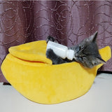 1PC Banana Cat Bed House Puppy Cushion Kennel Warm Portable Pet Basket Supplies Mat 3 Sizes