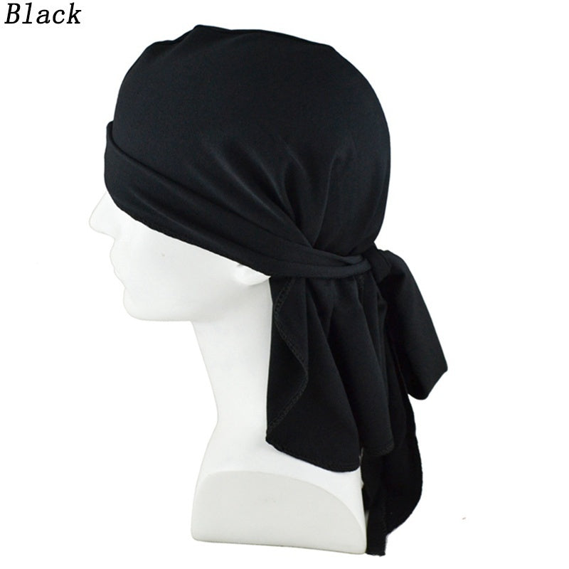 5 Colors Unisex Velvet Durag Muslim Turban Hijab Cap Long Tail Chemo Hats Absorb Sweat Head Scarf