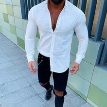 Load image into Gallery viewer, 2019 Fashion Men's Casual Slim Fit Linen Shirt Mens Bussiness Shirt Long Sleeve Solid Color T-Shirt Tops