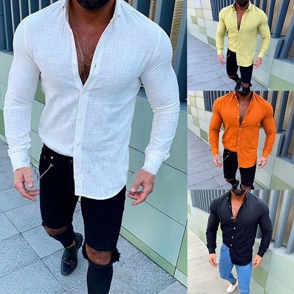 2019 Fashion Men's Casual Slim Fit Linen Shirt Mens Bussiness Shirt Long Sleeve Solid Color T-Shirt Tops