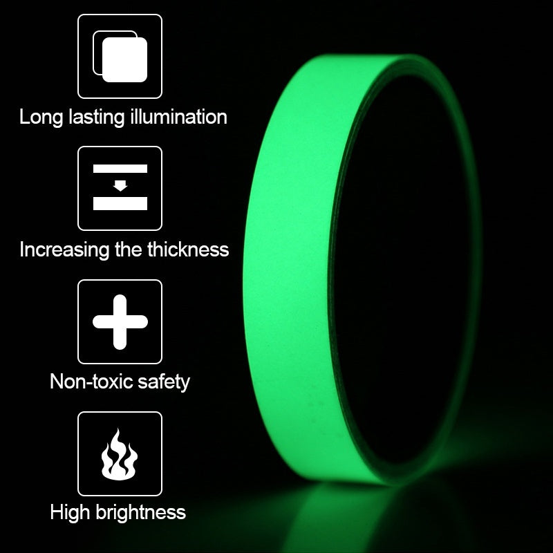 Reflective Glow Tape Self-adhesive Sticker Removable Luminous Tape Fluorescent Glowing Dark Striking Warning Tape