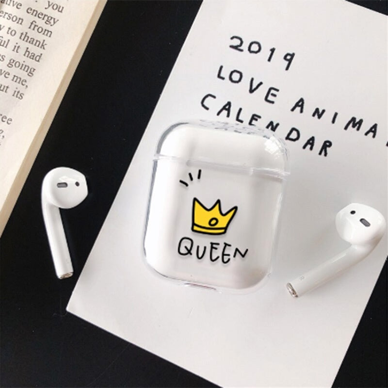 King Queen Crown Wireless Bluetooth Earphone Case for Apple Airpods Cartoon Clear PC Hard Cover for Airpods Headphone Protective Sleeve