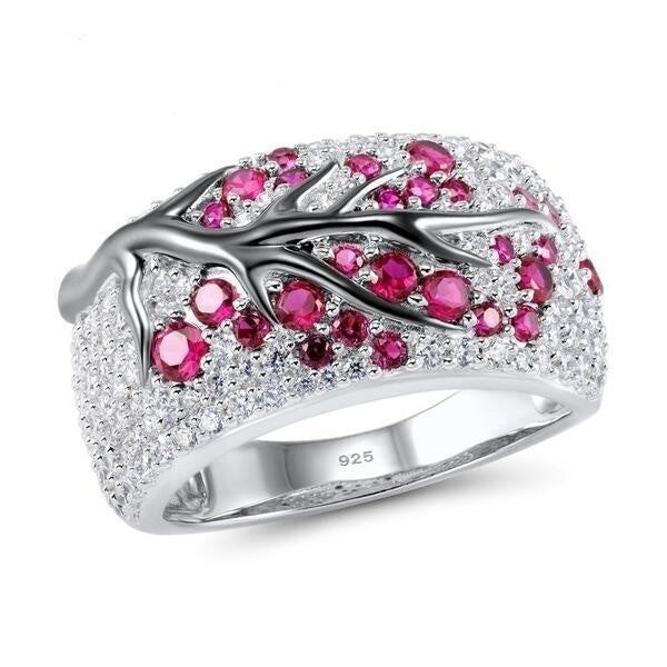 Women's Jewelry Ladies 925 Sterling Silver White Gold Color Natural Ruby/ Emerald Diamond Twig Ring  Wedding Party Gift Jewelry Size US 5-11