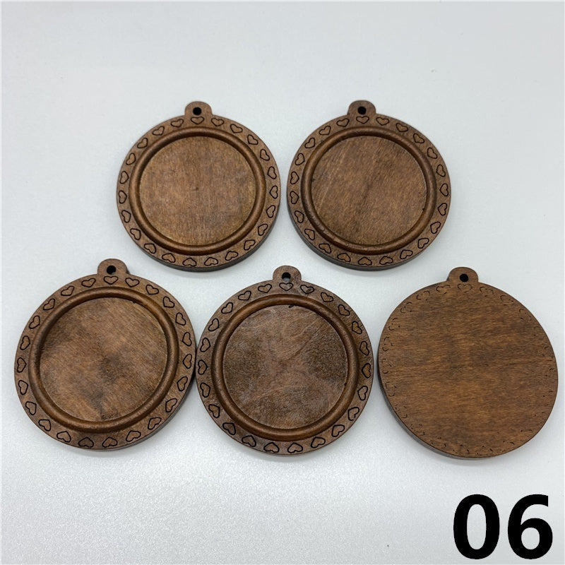 5pcs 30mm Brown Wood Cabochon Settings Glass Cabochon Wood Cameo Base Setting For Jewelry Making DIY Pendant Bracelet Accessory