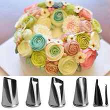 Load image into Gallery viewer, DIY 5 Pcs/Set Metal Rose Cupcake Pastry Icing Piping Nozzles Stainless Steel Cake Cream Decorating Tips Baking Tools