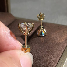 Load image into Gallery viewer, Delicate Round 1.25CT Moissanite Simulated 18K Gold & 925 Silver Stud Earrings Wedding Banquet Jewelry