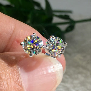 Delicate Round 1.25CT Moissanite Simulated 18K Gold & 925 Silver Stud Earrings Wedding Banquet Jewelry