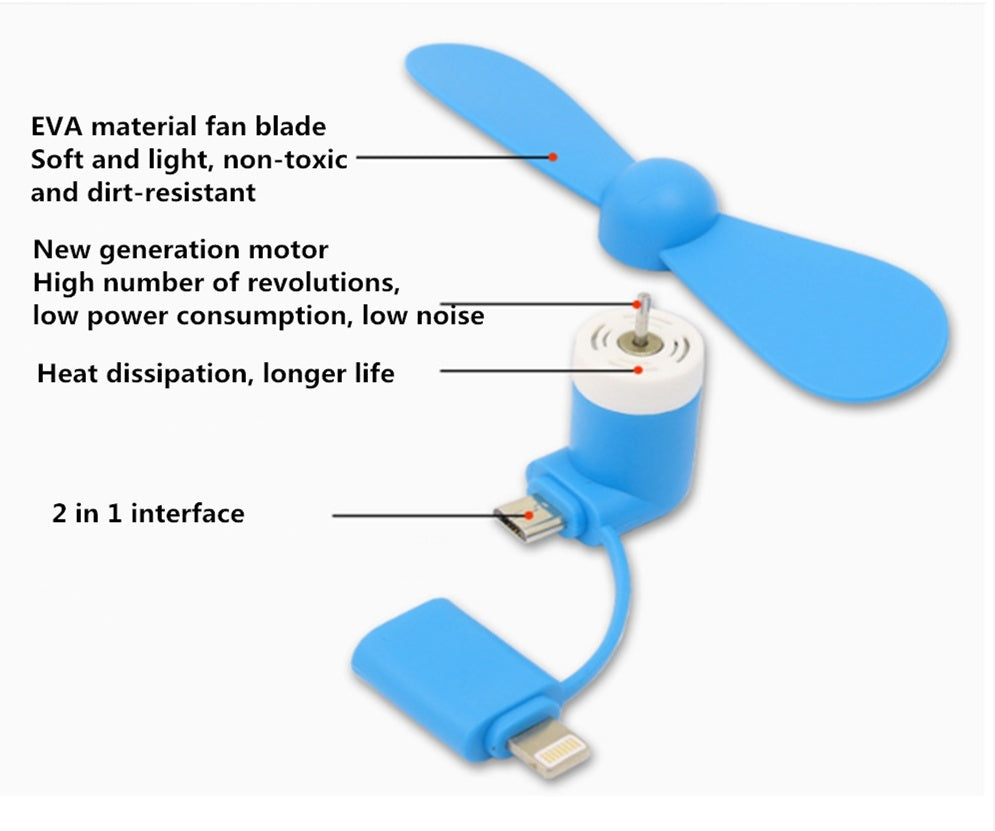 Mobile phone fan mini fan Apple Android interface 2 in 1 mobile phone fan Portable mini fan