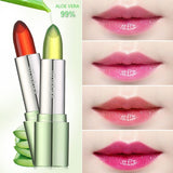 New 99% ALOE VERA Natural Temperature Change Color Jelly Lipstick Long Lasting Moistourizing Lip Makeup  6 Colors