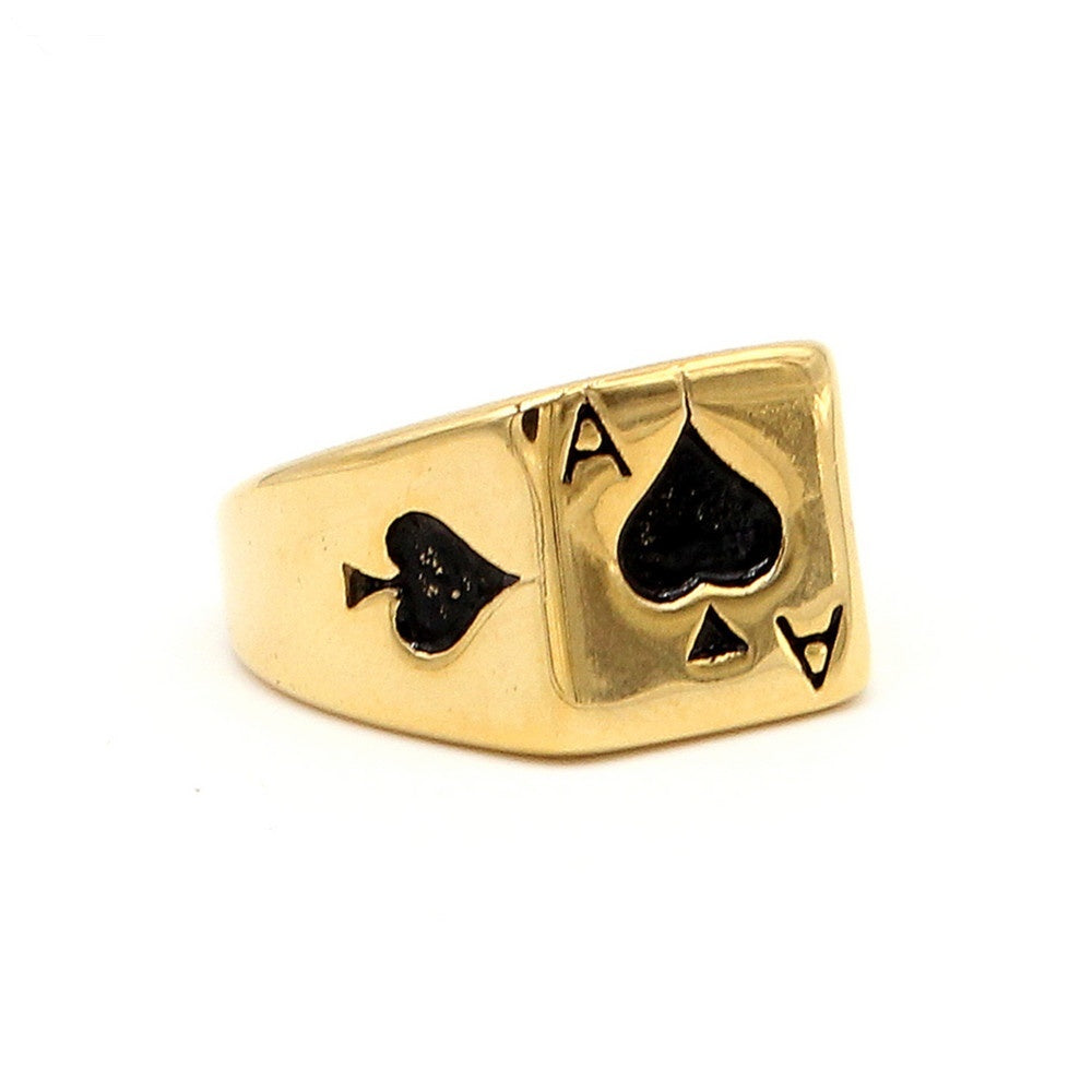New Fashion  316L Stainless Steel Playing Card Spades A Men's Titanium Ring Jewelry