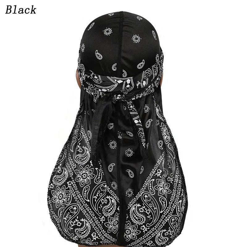 7 Colors Unisex Women Men Silky Durags Long Tail Satin Pirate Hat Summer Breathable Head Scarf