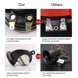 Universal Snail Air Horn Siren Loud 130dB Waterproof For 12V Truck Motorcycle