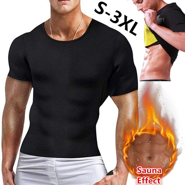 Men's Fashion Neoprene Slimming Shaping T-Shirts Body Shaper Compression Shirt Neoprene Workout Abdominal Trainer Fitness T-Shirt