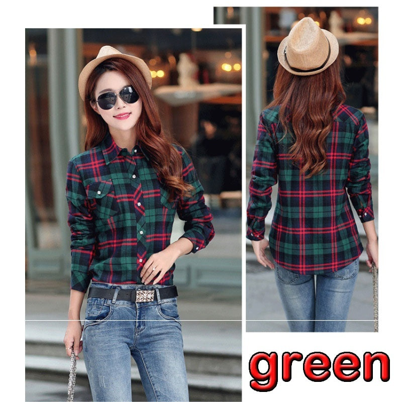 New Fashion Thick Velvet Blusas Winter Cotton Long-sleeved Women's Plaid Shirt Flannel Blouses Feminina Chemise Femme Camisas Femenina Tops