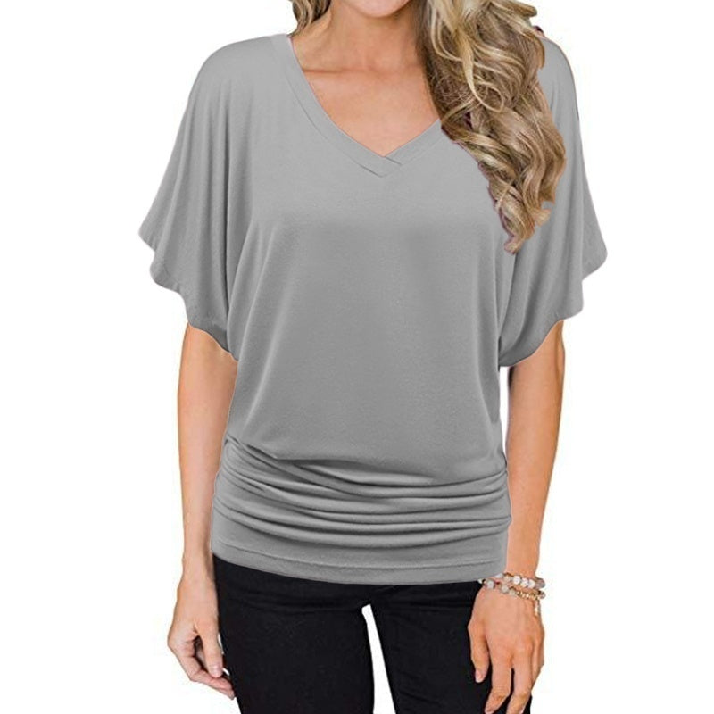 XS-6XL Women Fashion Casual Tunic Tops Summer V-Neck Short Sleeve T-Shirt Solid Color Batwing Sleeve Tops Loose Cotton Pullovers Blouses Plus Size Shirts