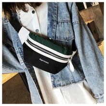 Load image into Gallery viewer, Fashion Women Canvas Waist Bag Leisure Panelled Funny Pack Letter Belt Bag Female Chest Crossbody Bag Fanny Pack