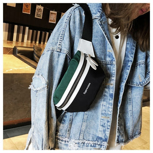 Fashion Women Canvas Waist Bag Leisure Panelled Funny Pack Letter Belt Bag Female Chest Crossbody Bag Fanny Pack