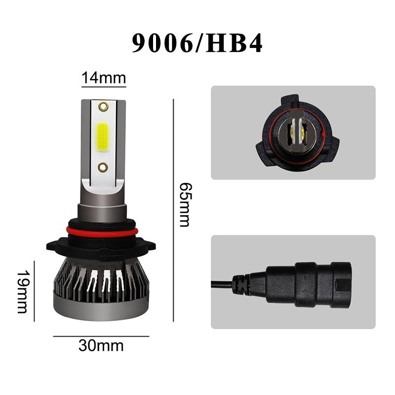 2PCS LED Car Headlight COB Chip 6000K LED Bulbs Mini Size Super Bright Lamps Fog Light H1 H7 H4 HB2 9003 H8 H9 H11 9005 HB3 H10 9006 HB4 9012
