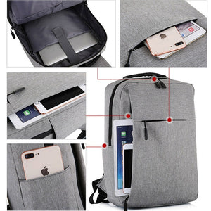 17.3 Inches Laptop Backpack Waterproof Travel Canvas Backpack with USB Charging Port School Bag for Student Men Women