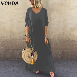 VONDA Plus Size Women Long Sleeve V Neck Casual Loose Solid Beach Holiday Long Maxi Dress Robes